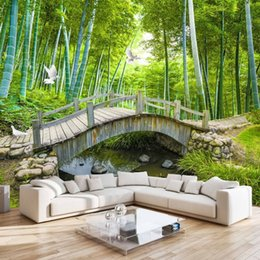 Small Mould NZ - Small Bridges Custom Photo Wallpaper 3D Bamboo Forest Landscape Painting Wall Decoration Living Room Bedroom Wallpaper Mural 3D
