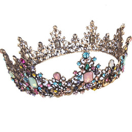 queens costumes for women UK - Baroque Royal Queen Crown Colorful Jelly Crystal Rhinestone Stone Wedding Tiara for Women Costume Bridal Hair Accessories