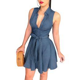 v blue jeans 2019 - Women Summer V Neck Sleeveless Blue Jeans Denim T-Shirt Bodycon Mini Dress cheap v blue jeans