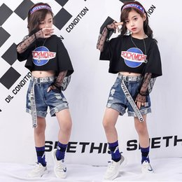 $enCountryForm.capitalKeyWord Australia - Girls Summer Boutique Clothing Kids Black Lace Sleeve Crop Top T Shirts And Ripped Denim Shorts Set For Teen Girls