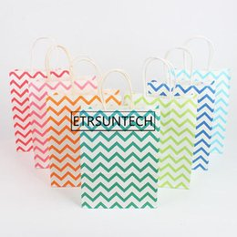 Boutique paper gifts Bags online shopping - 200pcs Dot Striped Wave Printed Gift Paper Bags Boutique Shopping Bag Party Favor Candy Packaging Bag x22x8cm