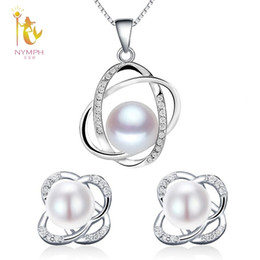 $enCountryForm.capitalKeyWord Australia - Nymph Wedding Pearl Jewelry Sets Natural Freshwater Pearl Necklace Pendant Earrings Fine Trendy Party Gift Girl Women Roset202 J190628
