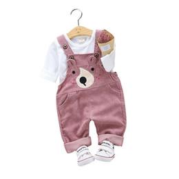 $enCountryForm.capitalKeyWord Australia - 2019 Spring Autumn Children Boy Girl Suit Baby Cotton T-shirt Cartoon Bear Belt Pants 2pcs Sets Kids Clothing Toddler Tracksuits