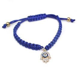 $enCountryForm.capitalKeyWord Australia - Wholesale- Good Luck Turkish Evil Eye Jewelry Handmade Hamsa Hand Charm Bracelet Red Green Blue Crystal Bracelets
