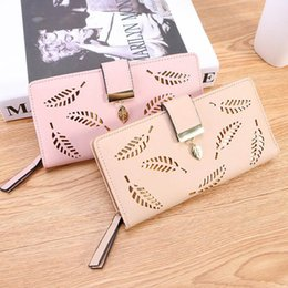 Leaf Coin Australia - Women Wallet PU Leather Purse Female Long Wallet Gold Hollow Leaves Pouch Handbag For Women Coin Purse Card Holders Clutch