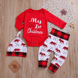 reindeer christmas suit NZ - Kid Christmas Jumpsuit Boys Girls Letters Reindeer Printed Tops Pants Hat 3 Pieces Suit Kids Spring Autumn Suits Babies Rompers WY81Q