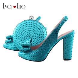 orange slingback shoes 2019 - BS1002 Custom Made Blue Truquoise Crystal Bow African Women Shoes With Matching Bag Slingbacks Women Bridal Wedding Shoe