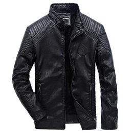 $enCountryForm.capitalKeyWord NZ - Leather Jacket Men Casual Slim Fit Pu Biker Motorcycle Leather Jackets Mens Fashion Plus Size 5xl 6xl Warm Stand Collar Coats