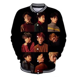 Exo jackEt online shopping - 2019 New Arrivals D Print EXO Fashion Style Long Sleeve Baseball Jacket Women Men Harajuku Casual Kawaii Clothes Plus Size XL