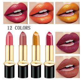 $enCountryForm.capitalKeyWord Australia - Shining metal color lipsticks matte shimmer lips makeup 12 colors 3.88g red gold sexy pearl lip stick long lasting