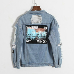 $enCountryForm.capitalKeyWord Australia - Drop Shipping Where Is My Mind Korea Retro Frayed Embroidery Letter Patch Bomber Jacket Blue Ripped Distressed Denim Coat Female Y190826