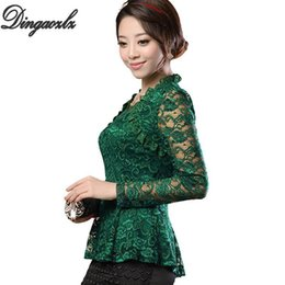 plus size lace ruffled blouses NZ - M-5XL Plus Size Women Clothing Elegant Ruffles Lace Tops Fashion Floral Casual Shirt Sexy Ladies Long Sleeve Lace Blouse