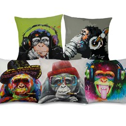 Chinese  5 Styles Hipster Chic Gorilla Monkey Cushion Covers Thinking Gorilla Painting Art Cushion Cover Bedroom Decorative Linen Pillow Case manufacturers