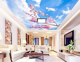$enCountryForm.capitalKeyWord Australia - WDBH 3d ceiling mural wallpaper custom photo Romantic cherry blossom blue sky living room Home decor 3d wall murals wallpaper for wall 3d