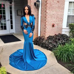Girls size 12 red dresses online shopping - African Blue Prom Dresses Long Mermaid Sexy Plunging V Neck Sides Black Girls Formal Evening Dress Party Gowns