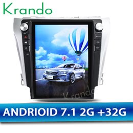 "Car Multimedia Player System Australia - Krando Android 7.1 12.1"" Tesla style Vertical screen car DVD multimedia system for Toyota Camry 2013-2016 GPS navigation player"