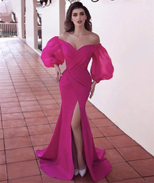 Wholesale side slit dress for women for sale – plus size Puffy Long Sleeves Sexy Plus Size Pink Evening Dresses For Women V neck Satin Side Slit Sweep Train pageant Mermaid Robe De Soiree