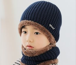 ivory linen suit UK - Children's hat winter tide wool warm add thick corn kernels and velvet collar baby two-piece suit