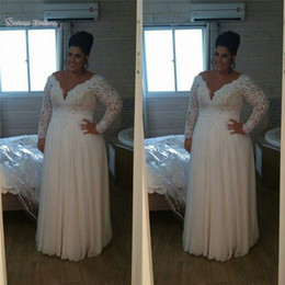Discount chiffon petite beach wedding dresses - 2019 V-neck A-line Wedding Dresses With Lace and Chiffon Long Sleeves Plus Size Bridal Gowns High-end Occasion Wedding D