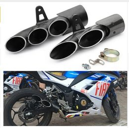 Motos de escape silencioso Carbon Fiber Double Down Deslizamento-na de escape Fuga Moto Para R6 Z900 zx6r cbr500r gsxr1000r em Promoção