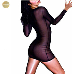 sexy long sleeve fitted dresses Australia - Slim 2019 Women Dress Sexy Fit Transporant Strech Mini Dresses Long Sleeve O Neck Vestidos S-2Xl