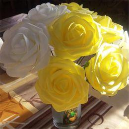 $enCountryForm.capitalKeyWord Australia - 5 Heads 8CM Artificial PE Foam Rose Bouquet Bridal Fake Flower Wedding Birthday Xmas Party Home Decor Scrapbooking DIY Supplies