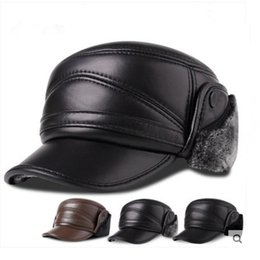 $enCountryForm.capitalKeyWord Australia - Genuine leather hat for men, middle-aged and elderly outdoors, warm sheepskin, ear protection, leisure baseball cap thickening in autumn and