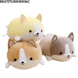 valentines stuffed animals 2018 - 1Pcs 30cm 50cm 60cmCute Fat Corgi Dog Plush Toy Stuffed Soft Animal Cartoon Pillow Lovely kids Toy Valentine Present che