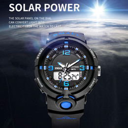 Men Sports Hand Watch Australia - Solar Watch Digital SMAEL Men Watches Waterproof Clock Men Luminous Hands Alarm Bracelet 8017 Solar Powered Digital Sport Watch