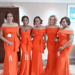 $enCountryForm.capitalKeyWord Australia - Orange Mermaid Bridesmaid Dresses With Ruffles Waist Cheap Long Bateau Neck Maid Of Honor Dress Prom For Women