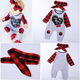 Romper Infant Australia - Infant baby girl plaid romper pajamas jumpsuit with headband 2pcs set outfit long sleeves letter print comfy bodysuit cute baby kid clothing