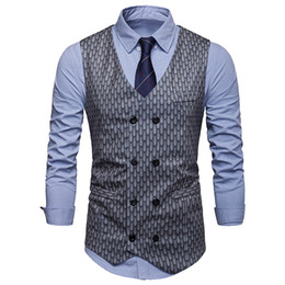 Wholesale waistcoat jackets for men resale online - CALOFE New Arrival Formal Dress Vests For Men Slim Fit Mens Suit Vest Male Waistcoat Homme Sleeveless Business Jacket