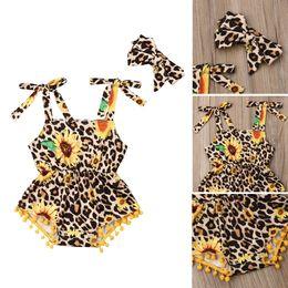 $enCountryForm.capitalKeyWord Australia - Toddler Baby Girl Leopard Sunflower Romper Bodysuit Jumpsuit Headband Clothes