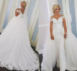 Detachable Bridal Straps Australia - 2019 Overskirts Mermaid Lace Wedding Dresses Detachable Train Arabic Bridal Gowns With Sweetheart Sheer Straps Bridal Dresses