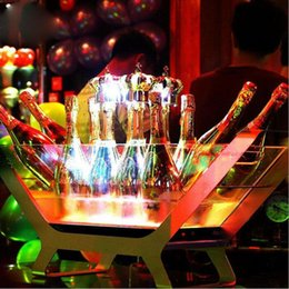 Ice holders online shopping - LED Luminous Beer Wine Bottle Holder Led Charging Ice Bucket Bottled Champagne Size Boat Shaped Bar