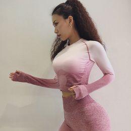 $enCountryForm.capitalKeyWord Australia - Women Yoga Set Gym Clothing Ombre Seamless Leggings+Cropped Shirts Workout Sport Suit Women Long Sleeve Fitness Set Active Wear