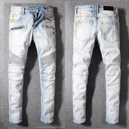 Jeans Pant Paint Australia - High Quality World Famous Brand Motor biker Jeans Trousers Paint Points Cowboy Denim Pants Men Fashion Casual Slim Skinny Jeans size 29-42