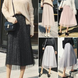 Wholesale sequined skirts for sale - Group buy 2019 New Style Solid Sequined Women Ladies Layered Pleated Swing Casual Tulle Long Elastic Long Skirt