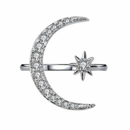 $enCountryForm.capitalKeyWord Australia - choucong Fashion Moon Star Ring 925 sterling Silver Pave Zircon cz Party Wedding Band Rings For Women Bridal Statement Jewelry