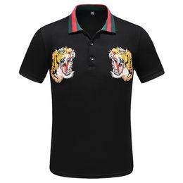 Sh Fashion UK - New2018Italian designer polo shirt t-shirt high quality brand snake flower embroidery men's polo high street fashion striped print polo t-sh