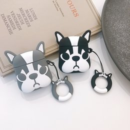 $enCountryForm.capitalKeyWord Australia - For Apple AirPods 3D Cute Bulldog Dog TPU Case Protective Shockproof Charging Portable Earphone Cover Cases with Ring Holder Couple Luxury