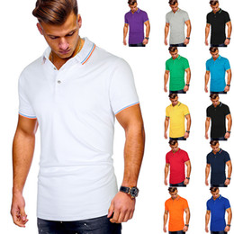 2020 sport summer new men's multi-color neckline cuff stripe splicing t-shirt men's Casual Short Sleeve Polo on Sale