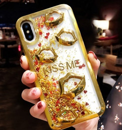 Chinese  Luxury Plating Phone Case Fashion Quicksand 3D Sexy Lips Kiss Soft TPU Capa For iphone 7 free DHL manufacturers