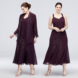 tea length evening dresses jackets Australia - Grape Mermaid Plus Size Beaded Mother Of The Bride Dresses With Long Sleeves Jackets Wedding Guest Dress Tea Length Chiffon Evening Gowns