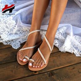 $enCountryForm.capitalKeyWord Australia - Nan Jiu Mountain 2019 Summer Flat Sandals Women's Toe Rhinestone Pearl Beach Shoes Bohemian Plus Size 35-43 Y190704
