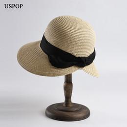 464e115d02609c USPOP 2019 new women sun hat wide brim paper straw sun hat vintage bow beach  back opened straw