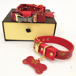 products red Canada - Red Bow Dog Collars Leather Pet Traction Rope Suit Outdoor Dog Safety Products Designer Leashes Hot Sale