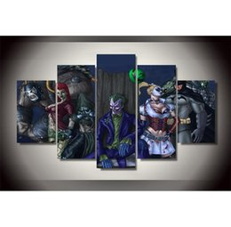 joker canvas print NZ - 5 Pieces.Batman Joker Harley Quinn Death Squads,Home Decor HD Printed Modern Art Painting on Canvas (Unframed Framed)