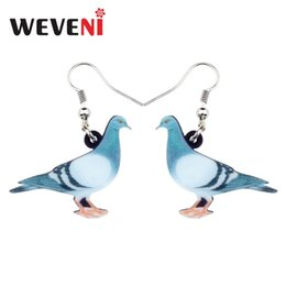 Wedding pigeons online shopping - WEVENI Acrylic Anime Blue Dove Pigeon Bird Earrings Big Long Dangle Drop Fashion Animal Jewelry For Women Girls Teens Kids Gift