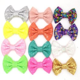 $enCountryForm.capitalKeyWord Australia - 38 Colors 4 Inch Sequin Bow DIY Headbands Accessories Baby Boutique Hair Bows without Alligator Clip for Girls